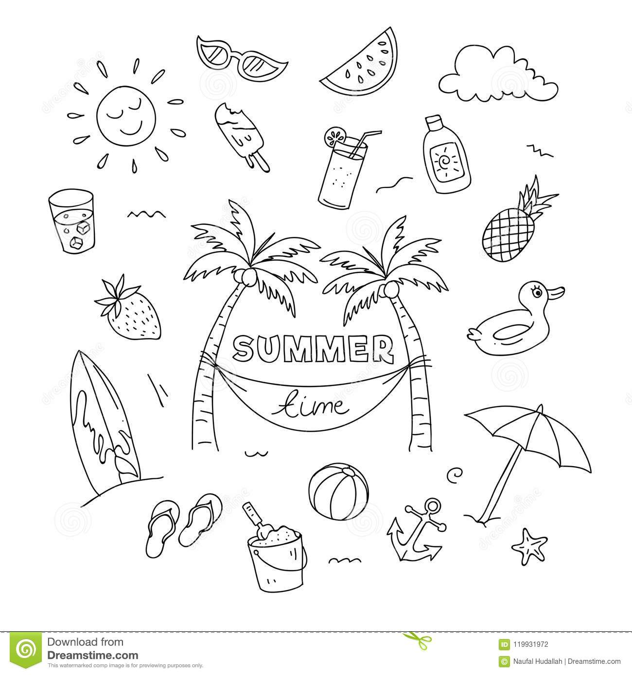 Summer Time Doodle Art With Beach Holiday Object