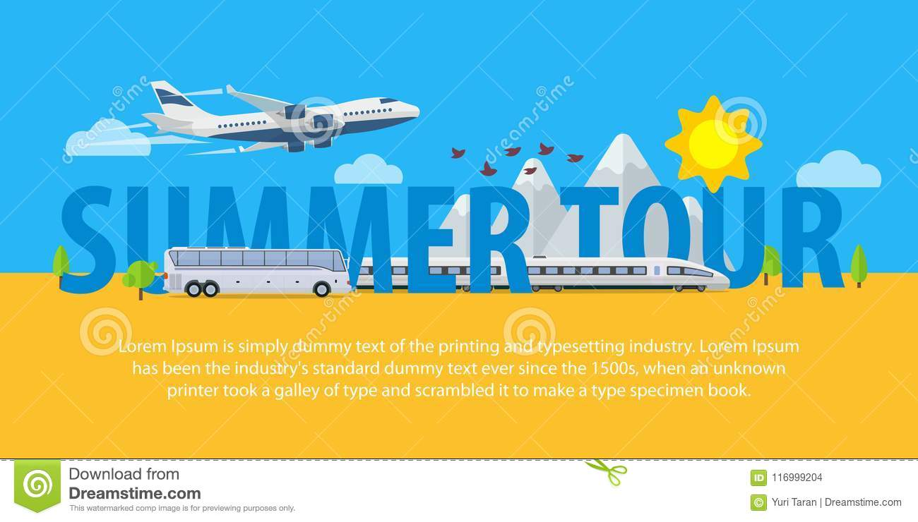 Summer Travel Banners In Flat Style Traveling In Time Of Vacation By Plane Train And Bus Template For Advertising Ads And Webs Stock Vector Illustration Of White Travel 116999204