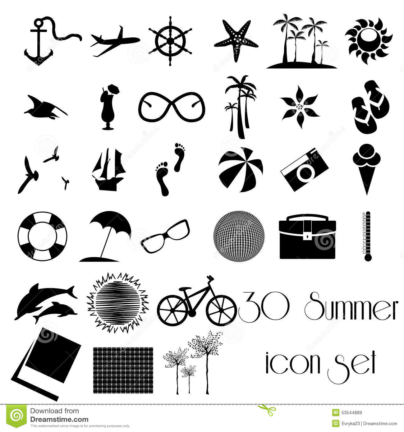 30 Summer Travel Holiday Icon Set Stock Vector