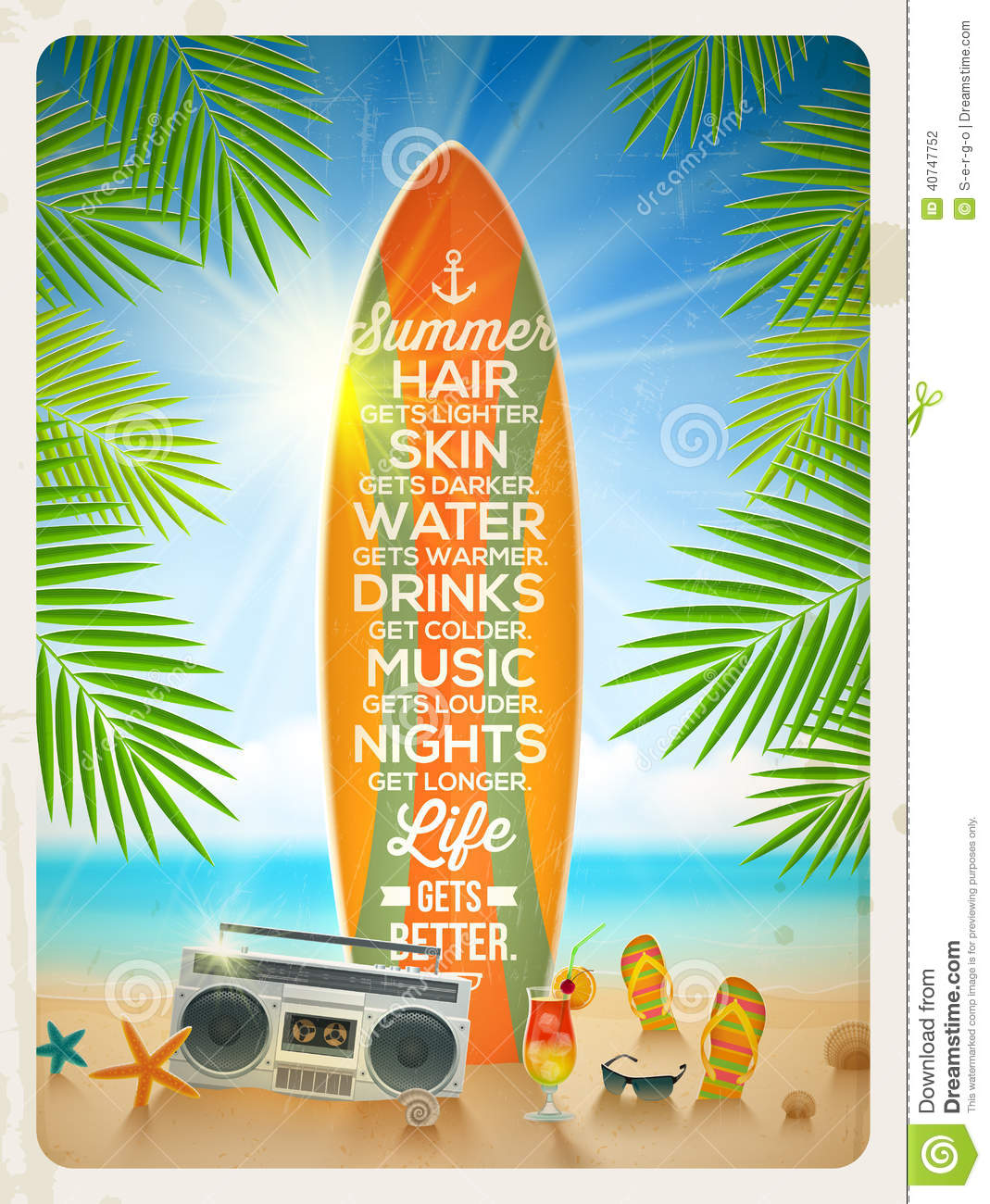 Summer Vacation Design With Quote Stock Vector Image
