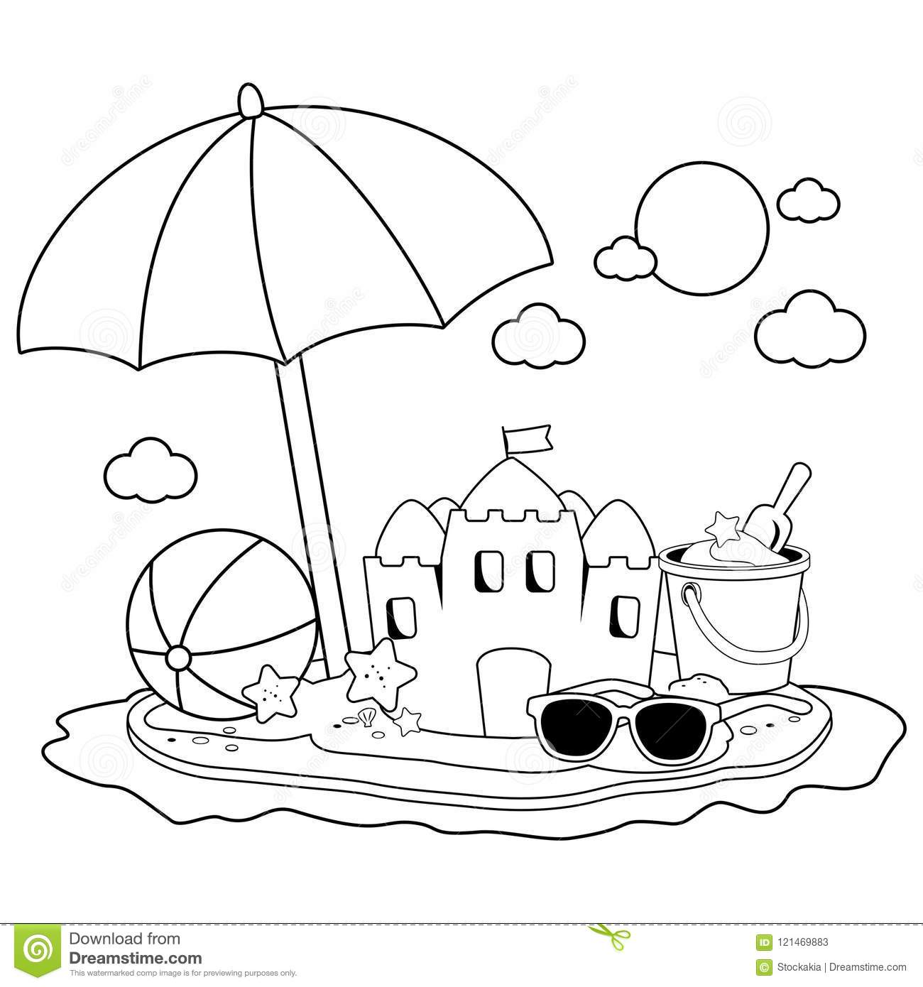 Summer Vacation Island With Beach Umbrella A Sandcastle
