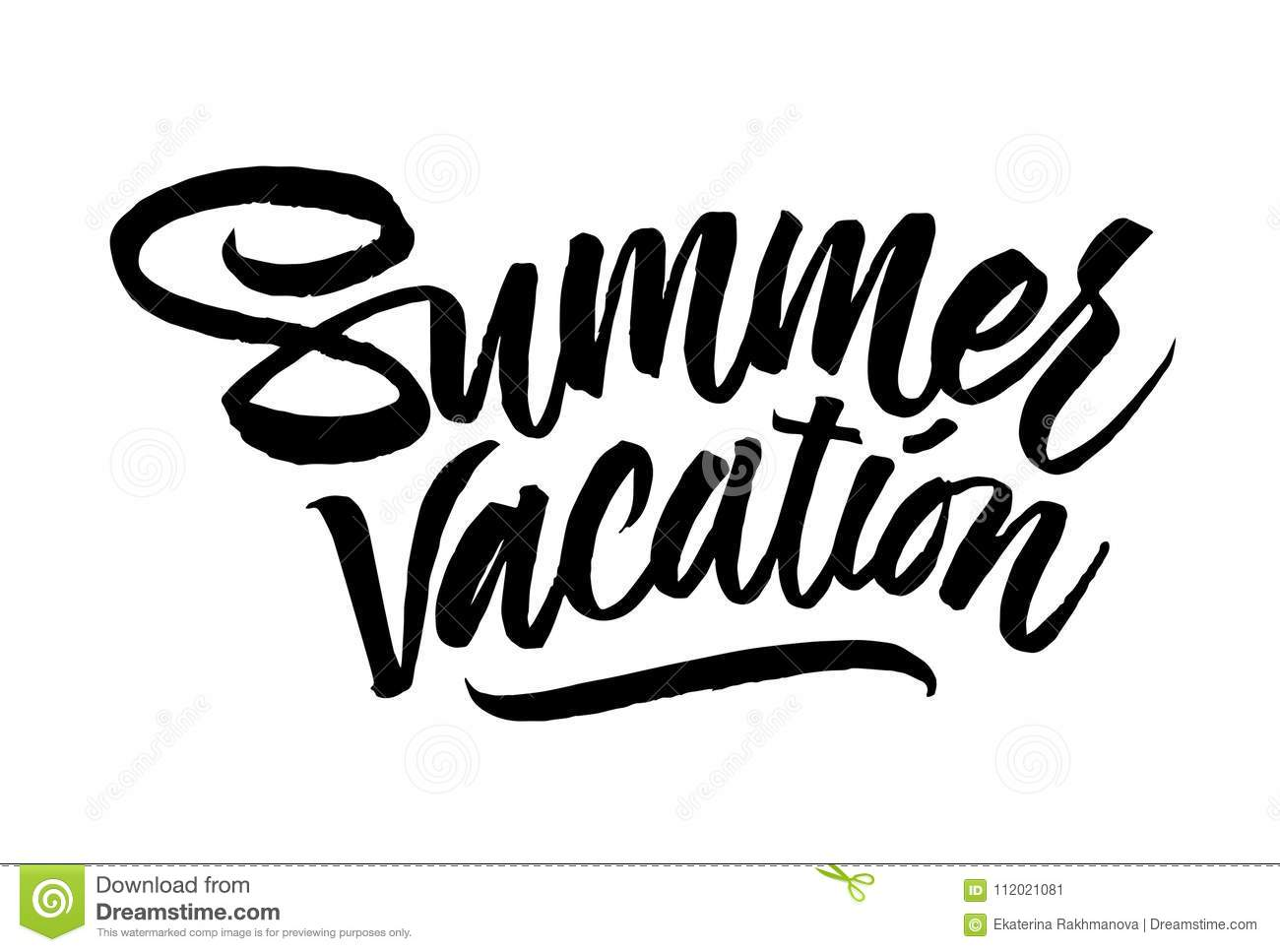 Summer Vacation Lettering Hand Drawn Calligraphy Brush