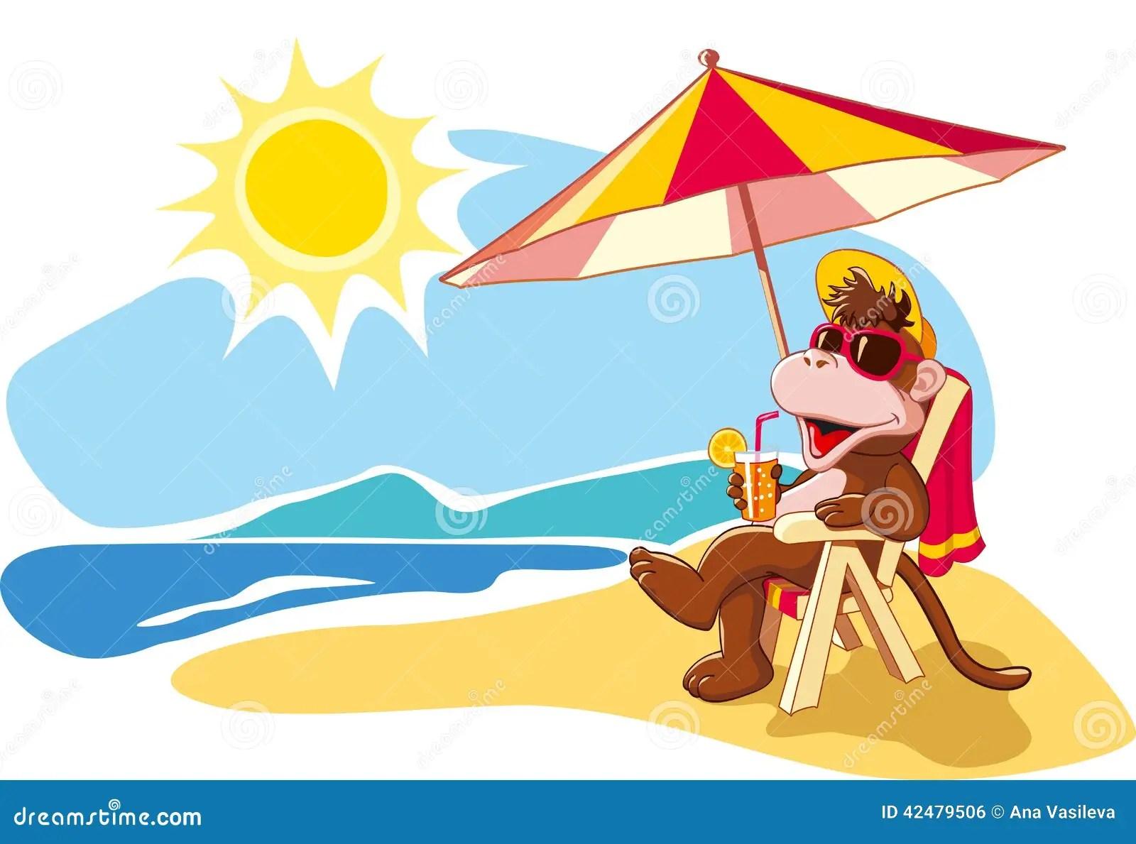 Summer Vacation By The Sea Cartoon Illustration Stock Vector Illustration Of Illustration Landscape 42479506