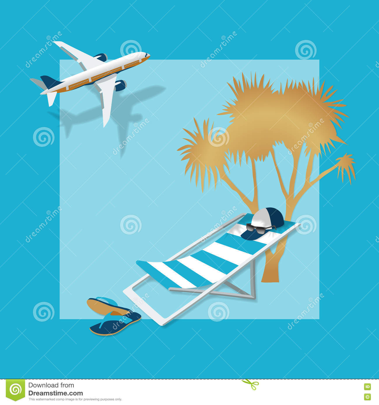 air travel beach chairs folding chair mechanism summer vacation stock vector illustration of airplane 72109115 summertime traveling template with accessories palm hat flip flops and sunglasses on a blue background