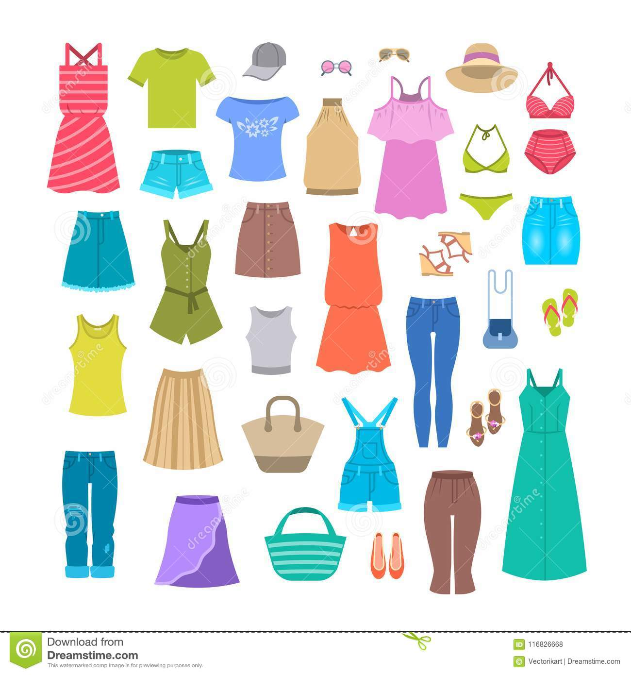 Summer Women Casual Clothes And Accessories Stock Vector