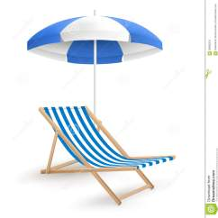 Beach Chairs And Umbrella Sciatic Nerve Chair Stretch Sun With On White Stock Vector