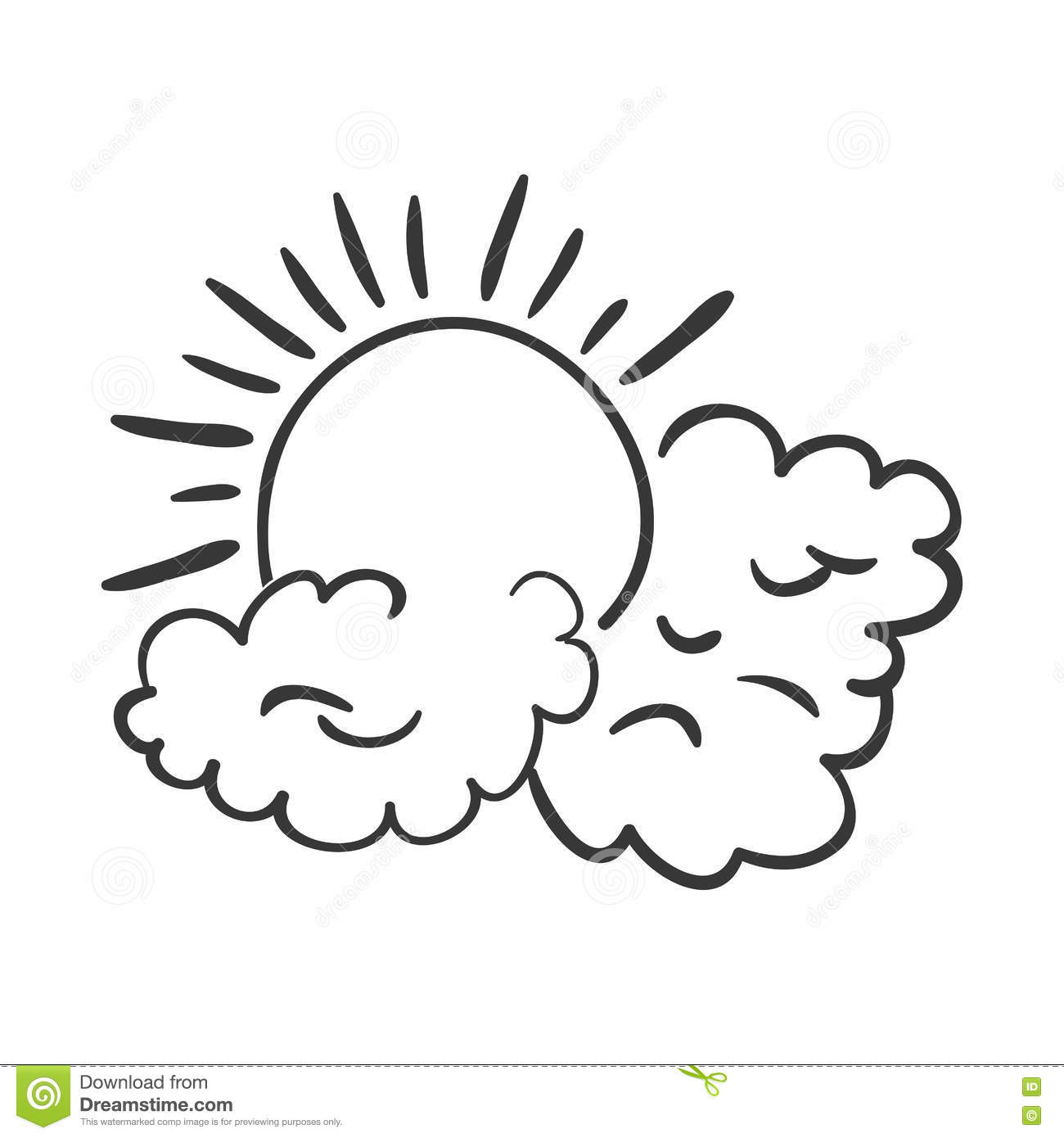 Sun And Cloud Icon Stock Vector Illustration Of Emblem