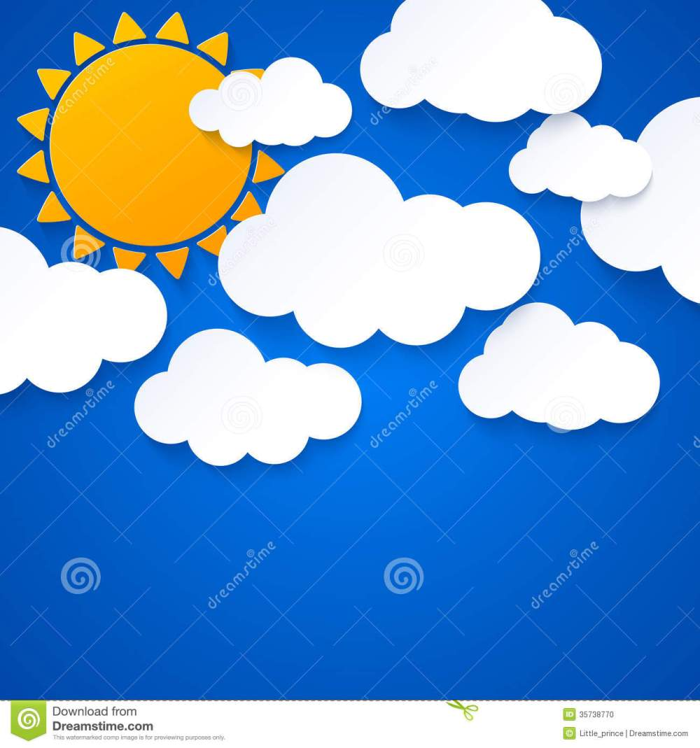 medium resolution of sun and clouds on blue sky background