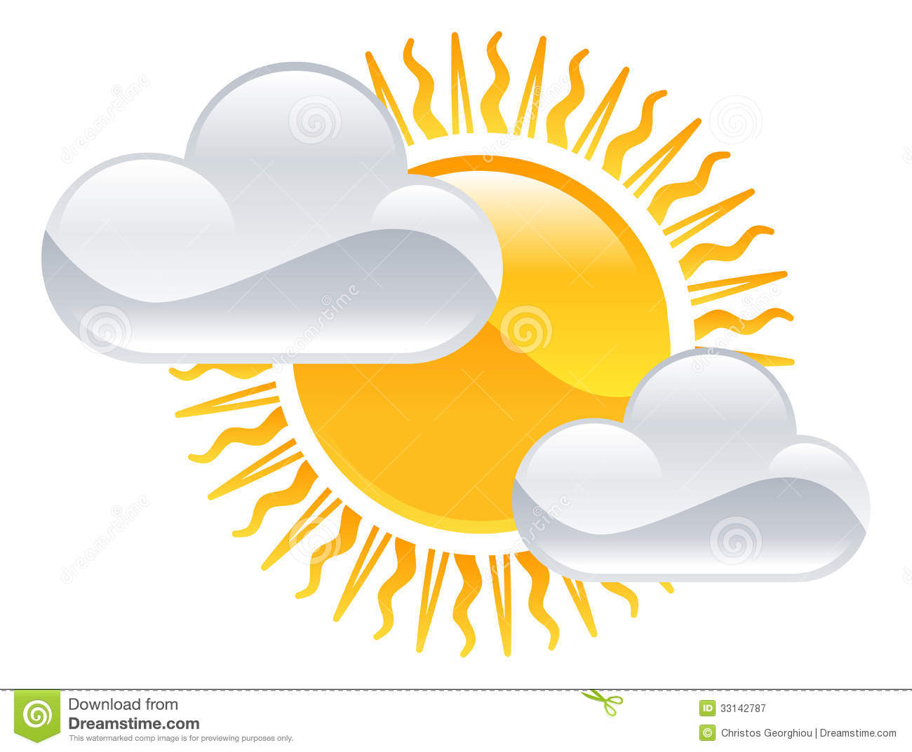 hight resolution of sun and clouds icon