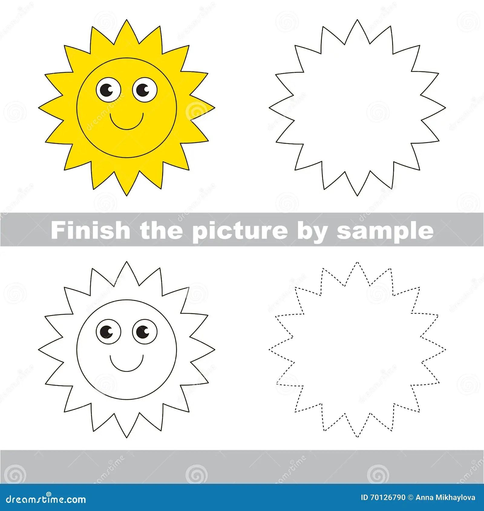 Sun Foglio Di Lavoro Del Disegno Illustrazione Vettoriale