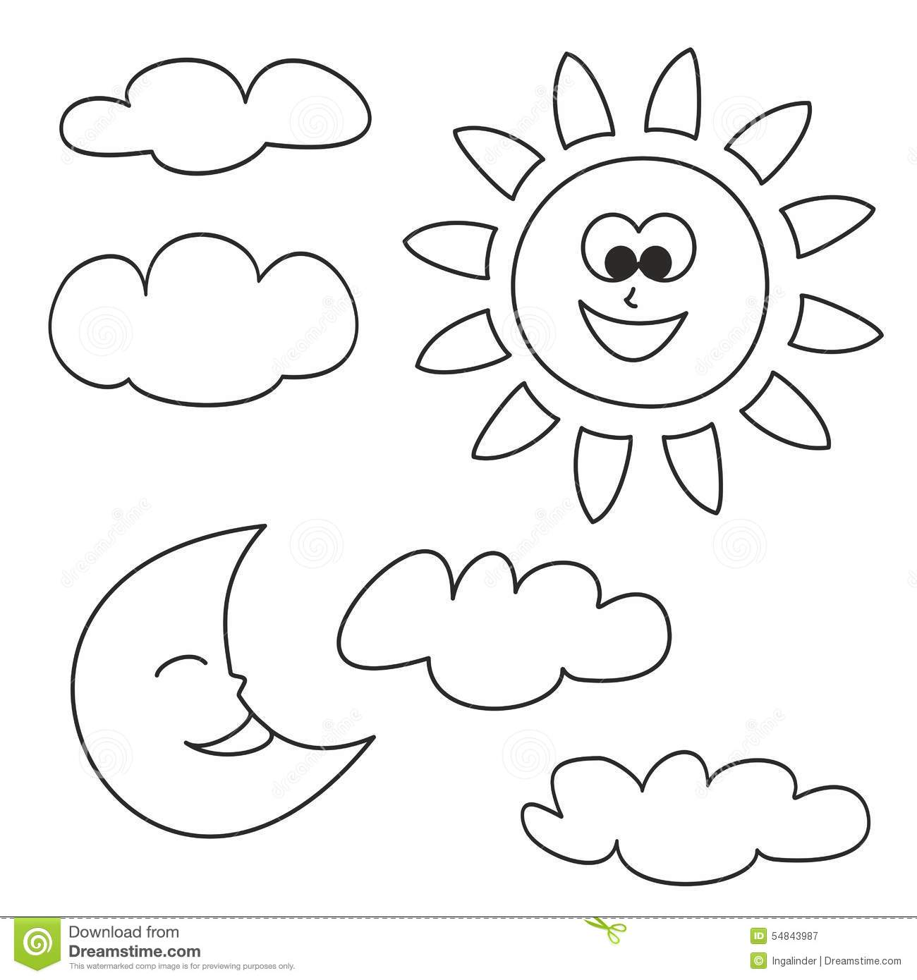 Sun Moon And Clouds Vector Icons Isolated On White