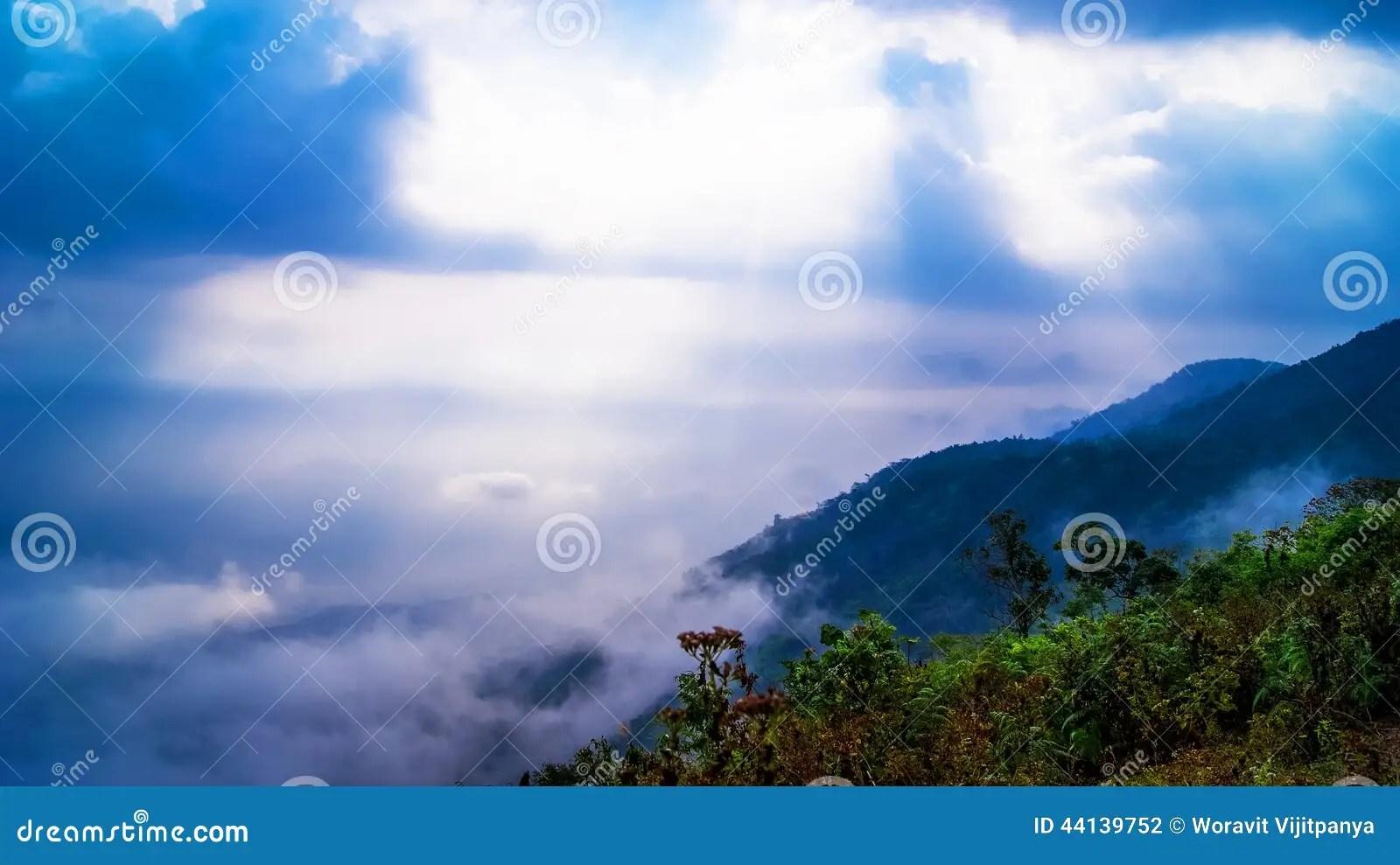 Sun Rays Mountain Landscape Stock Photo Image 44139752