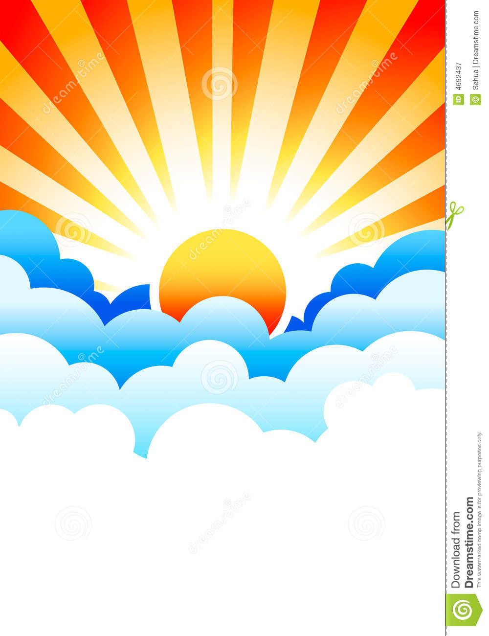 Sun Rising In Clouds Stock Vector Illustration Of Concept
