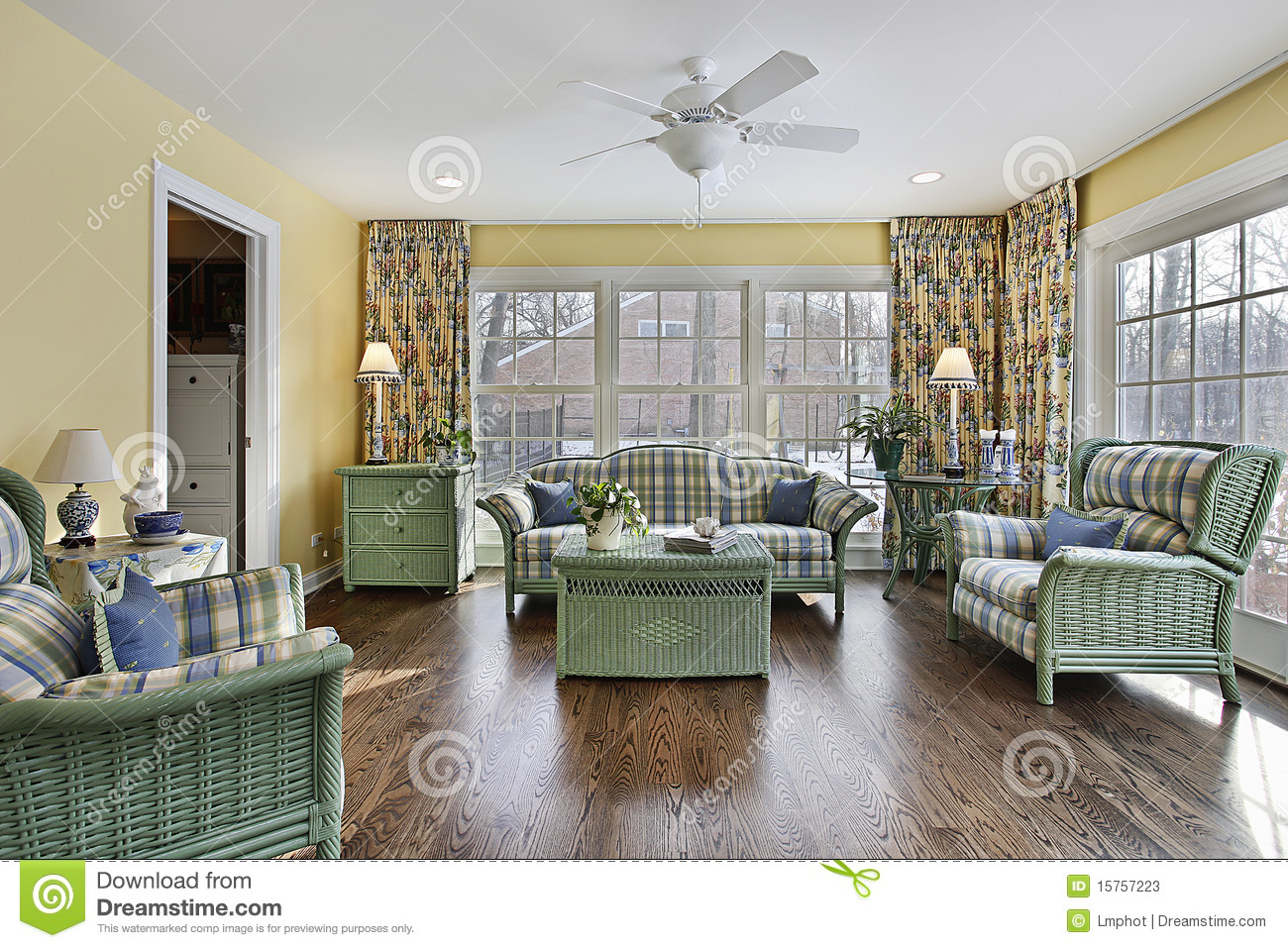 Sun Room With Green Wicker Furniture Stock Photos  Image