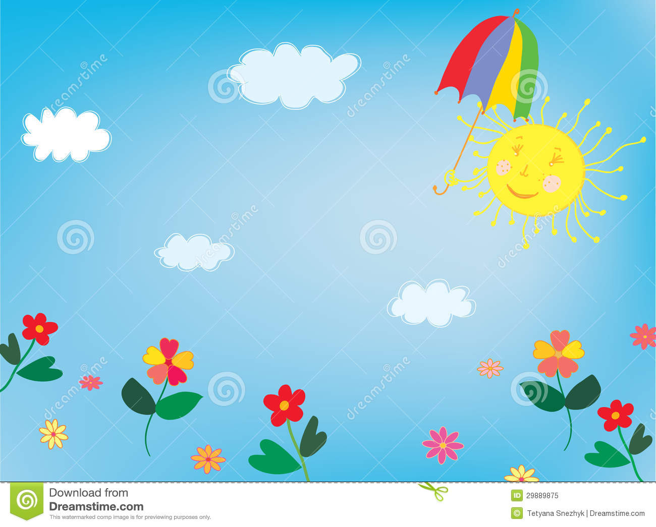 Cute Toddlers Playing Cartoon Wallpaper Sun And Sky Background For Children Royalty Free Stock