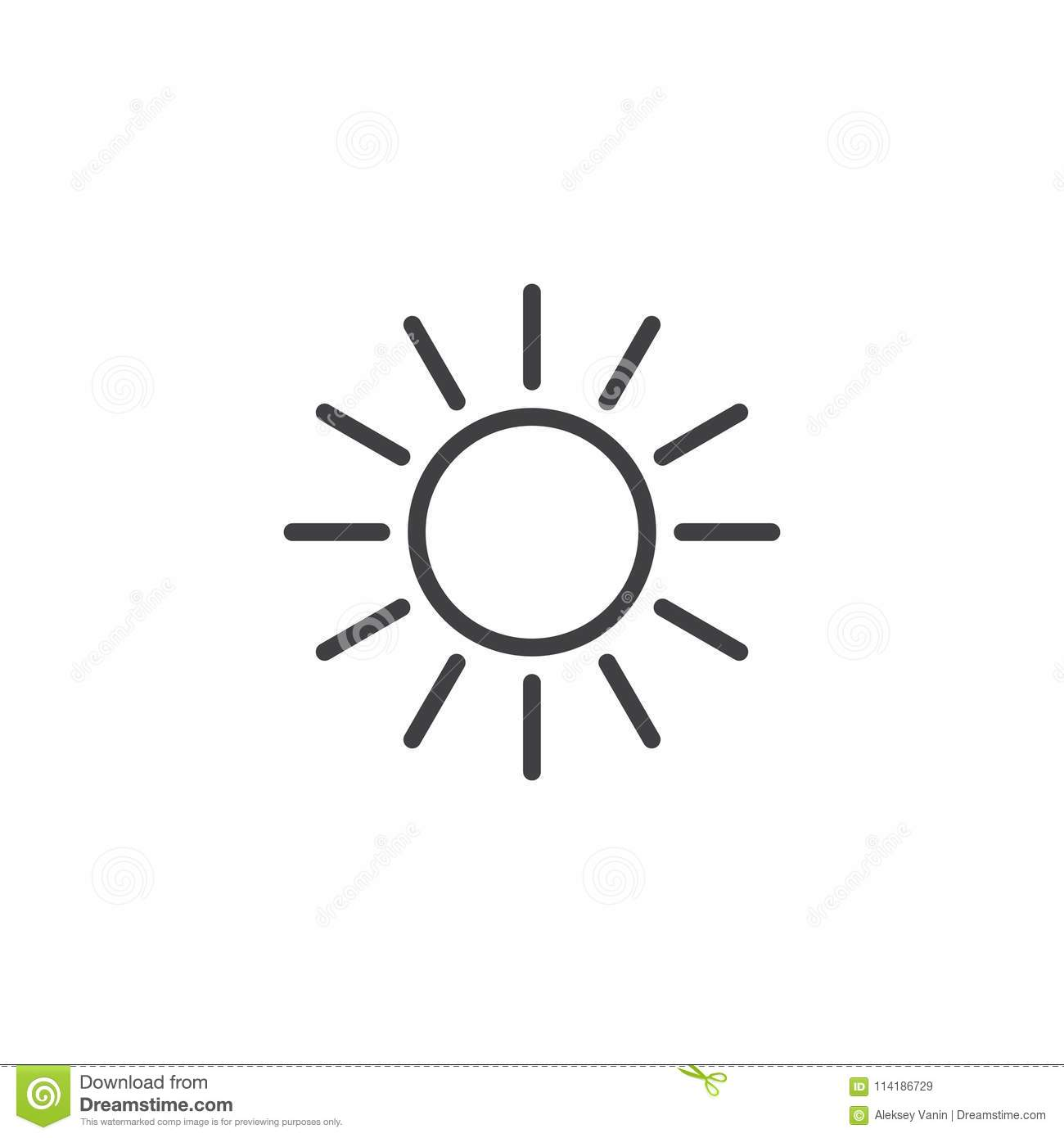 Sun With Sunbeams Outline Icon Stock Vector