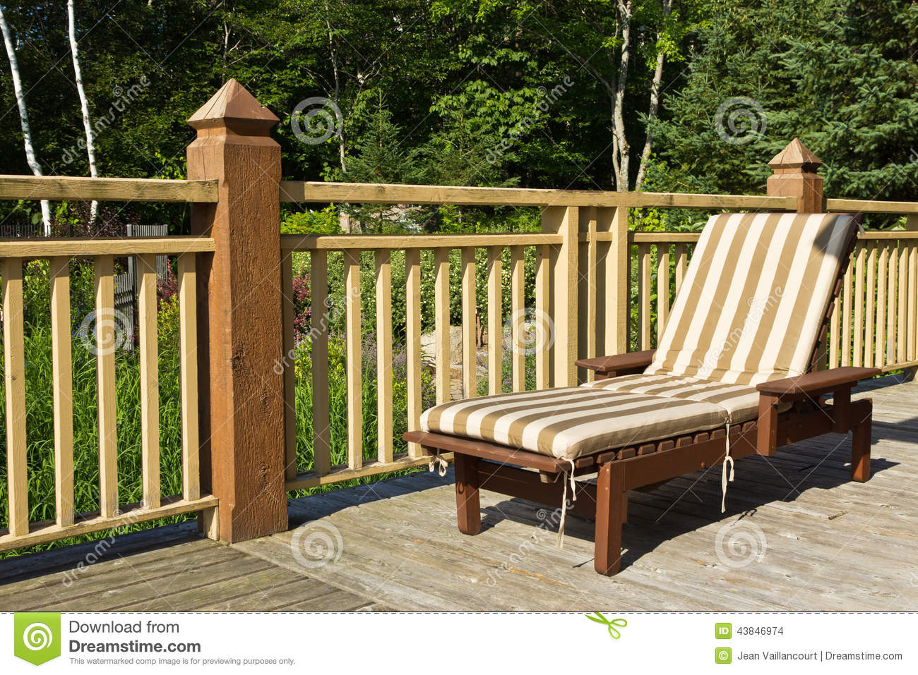 Sunbathing Chairs Sunbathing Chair On A Wooden Deck Stock Photo Image