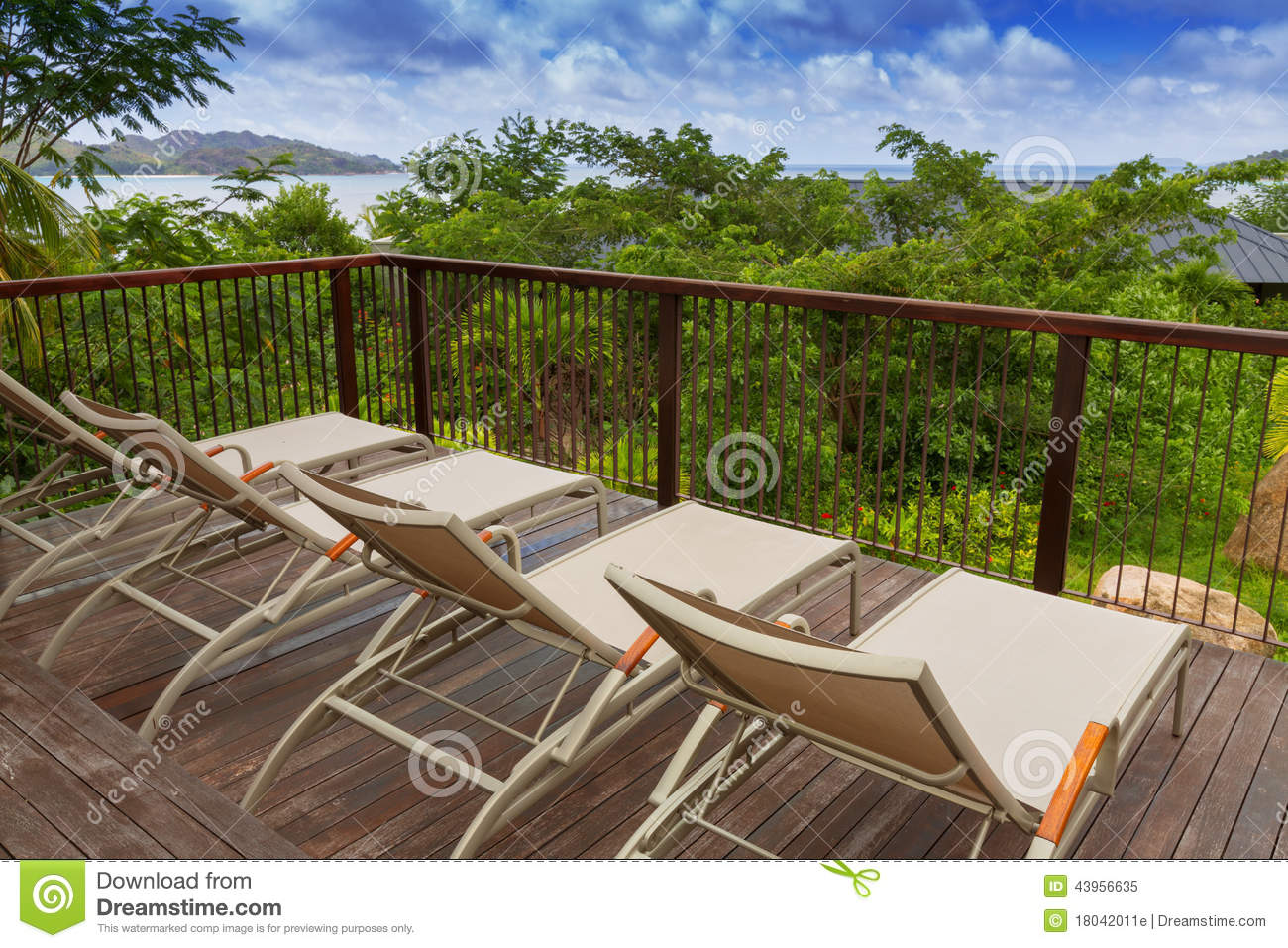 Sunbathing Chairs Sunbathing Chairs On Wooden Decking Stock Photo Image