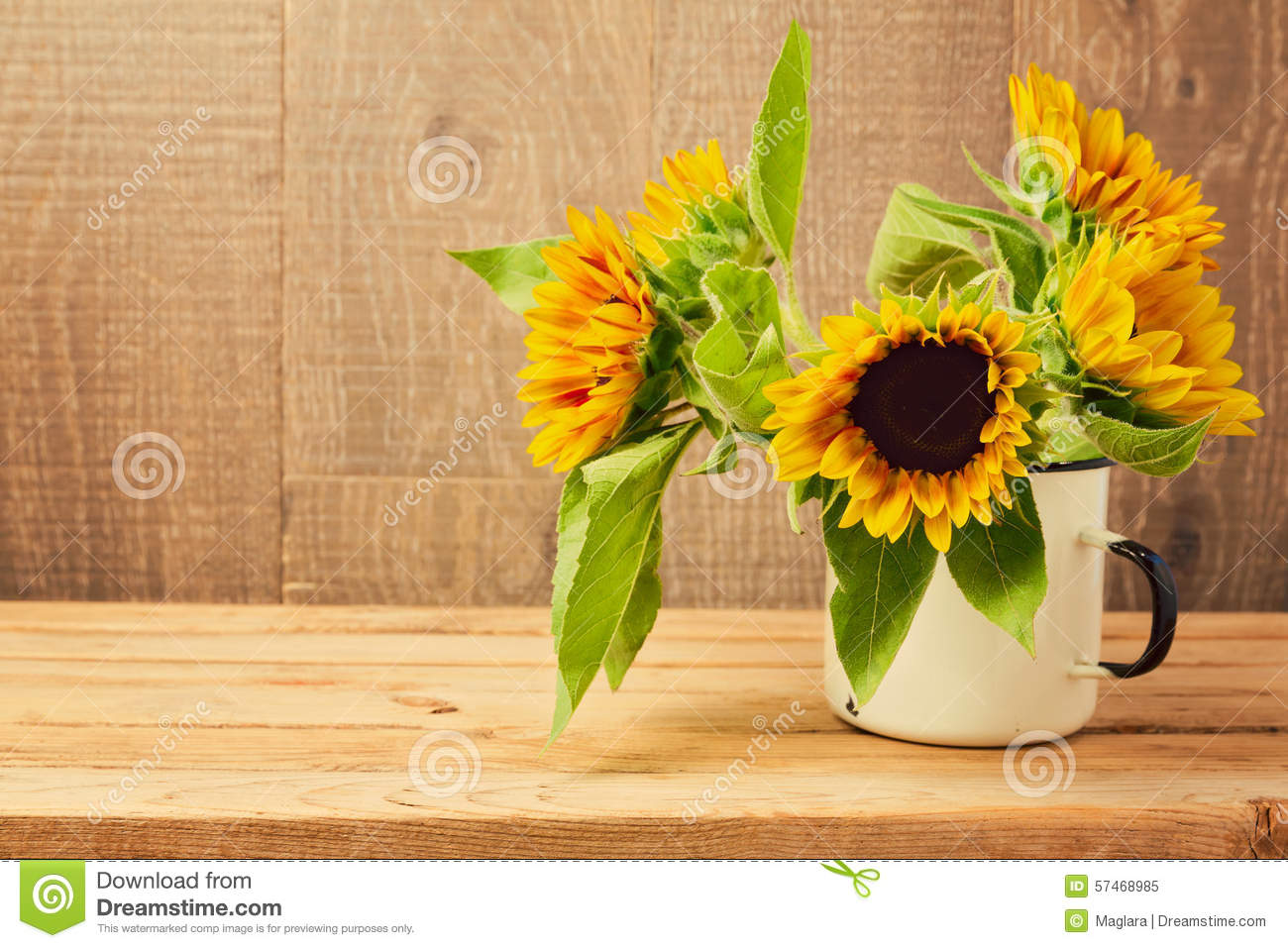 Free Fall Harvest Desktop Wallpaper Sunflowers In Vintage Cup On Wooden Table Stock Image