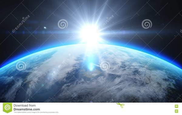 Sunrise Over Earth Space. With Stars Background. 3d Rendering Stock Illustration