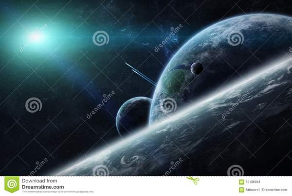 Sunrise Over Planet Earth In Space Stock Illustration - 62136934
