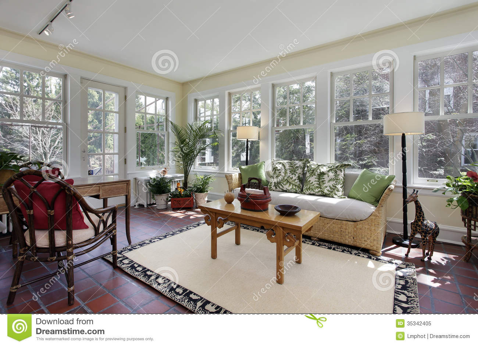 Sunroom With Red Brick Flooring Stock Image  Image 35342405