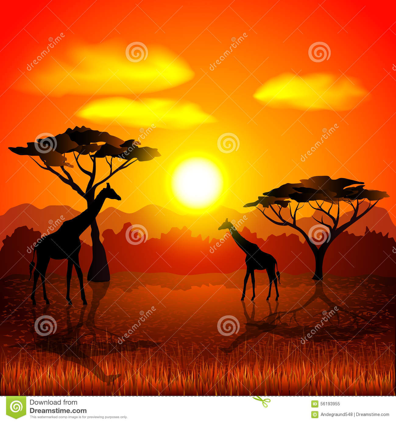Sunset In African Savannah Vector Background Stock Vector  Image 56193955