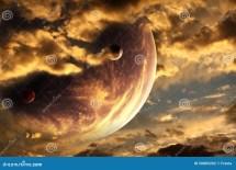 Sunset In Alien Planet Stock Illustration. Illustration Of