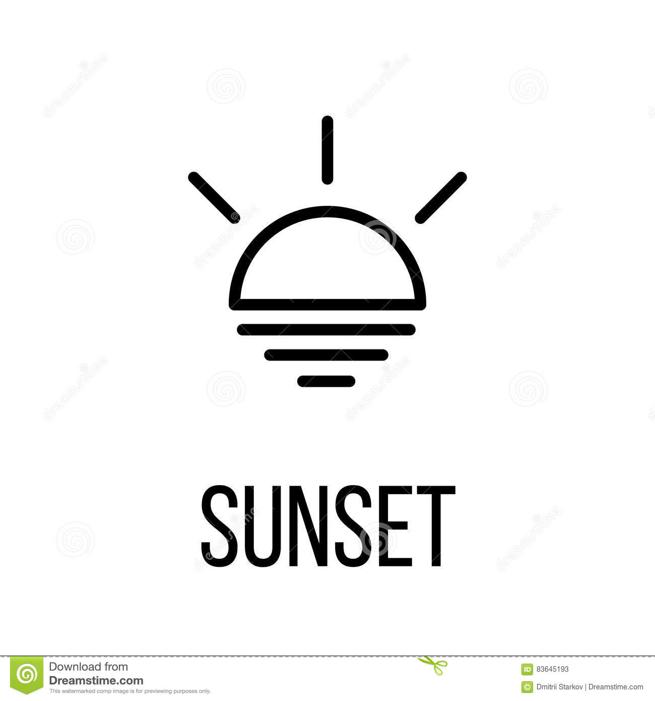 Sunset Icon Or Logo In Modern Line Style Stock Vector