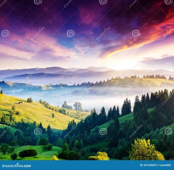 Colorful Landscape Sunset Mountain