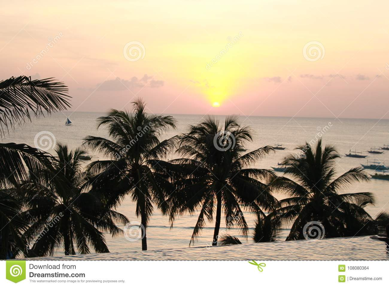 Boracay Sunset View At Infinity Pool Stock Photo Image Of