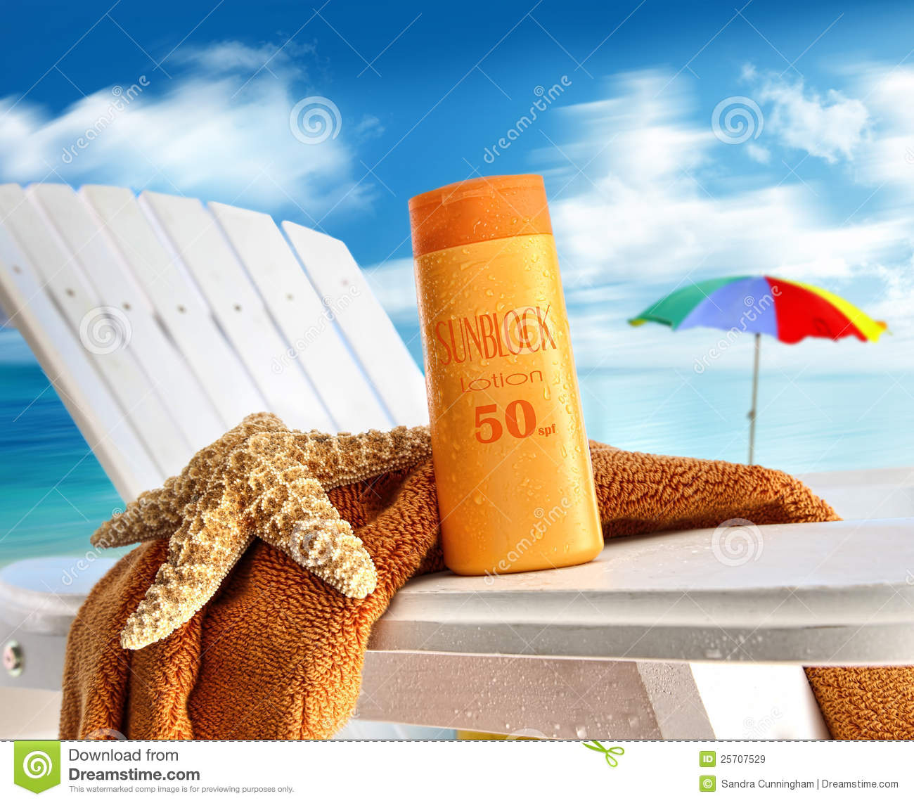 Suntan Lotion On Chair At The Beach Stock Image  Image