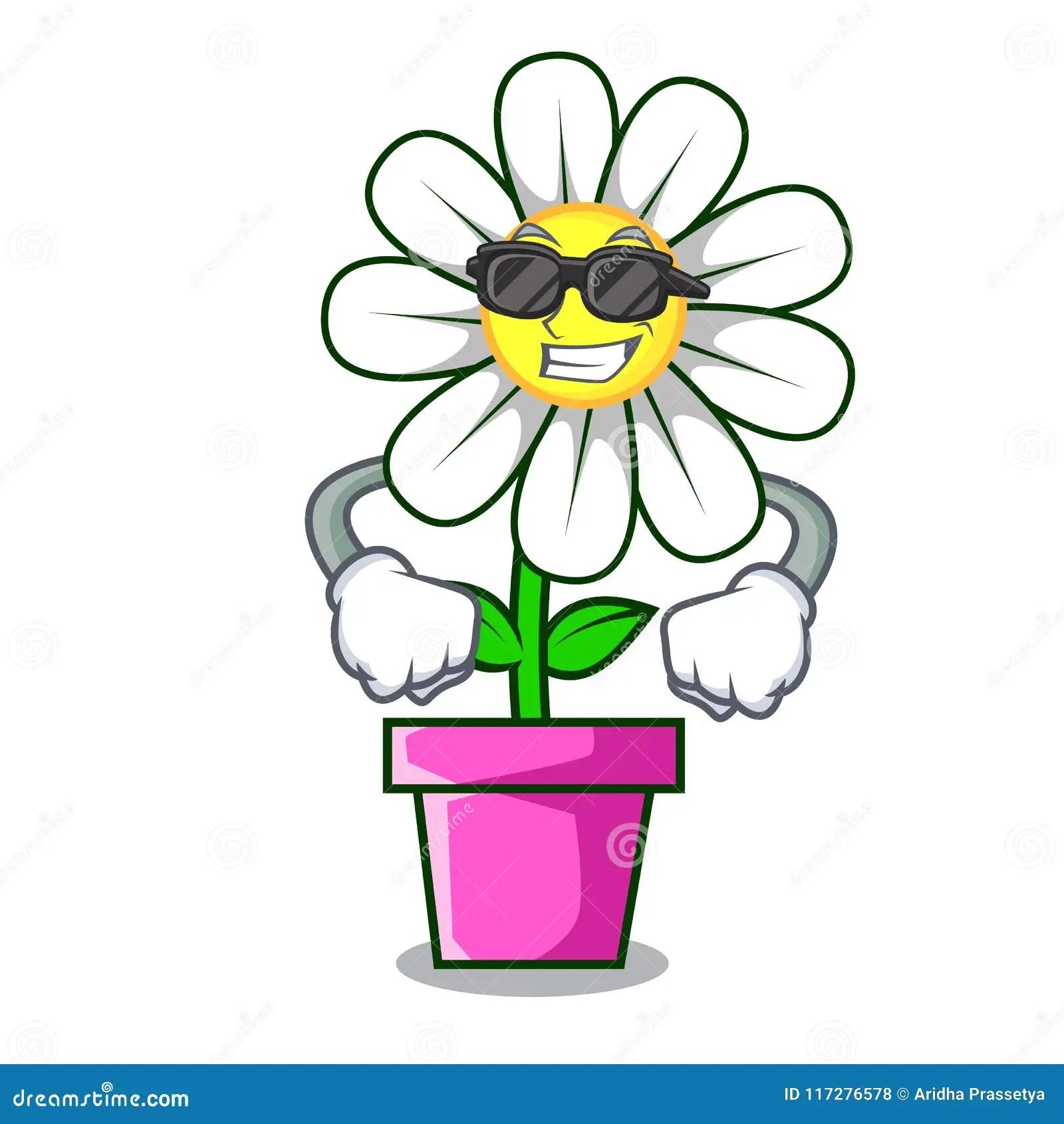 hight resolution of super cool daisy flower character cartoon