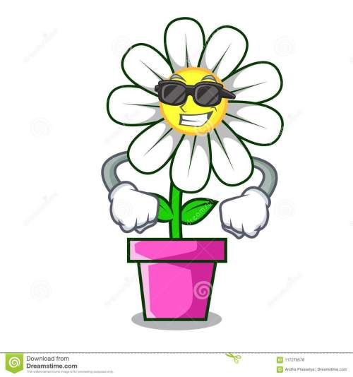 small resolution of super cool daisy flower character cartoon