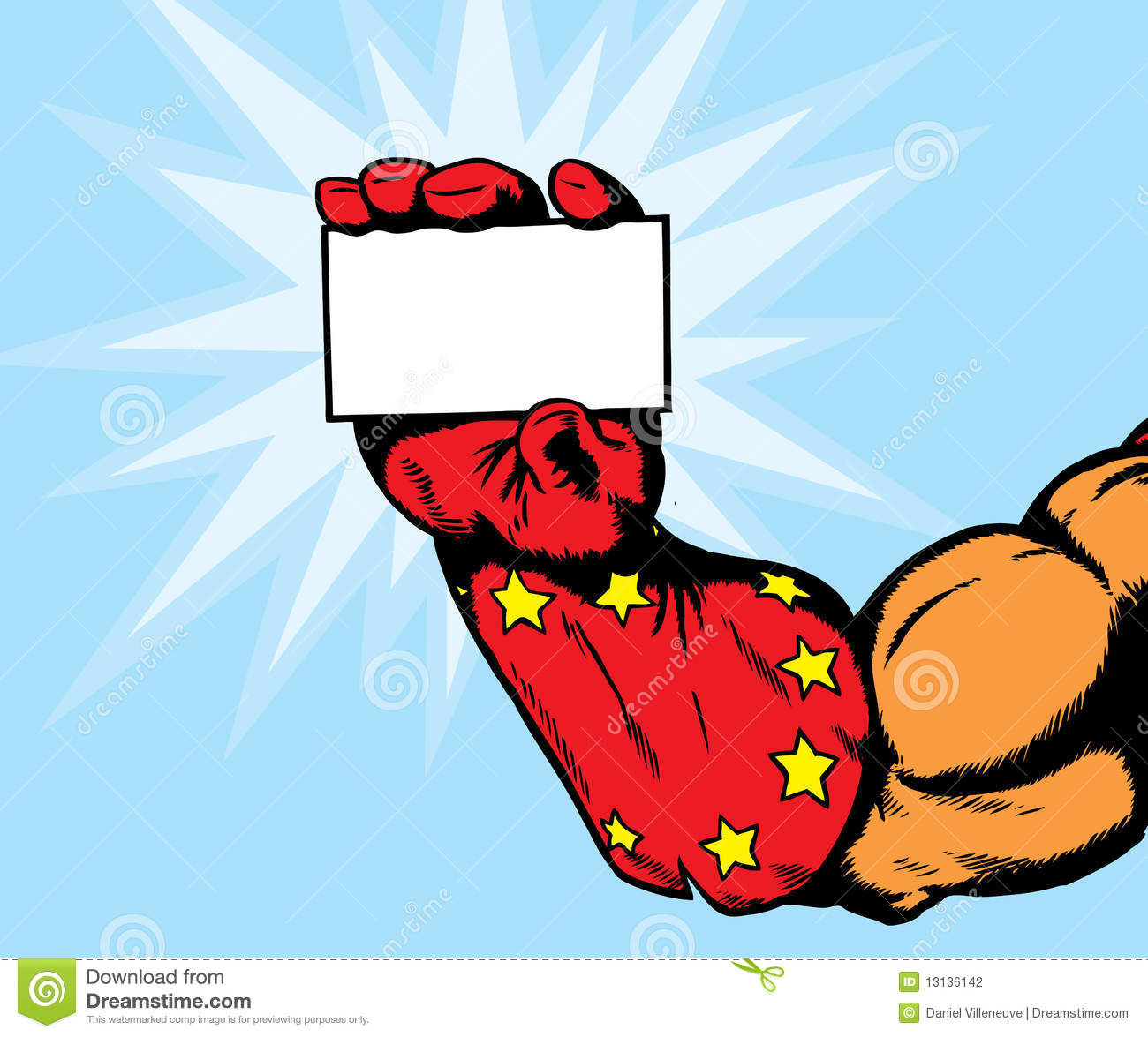Superhero Hand Holding Card Stock Photography Image