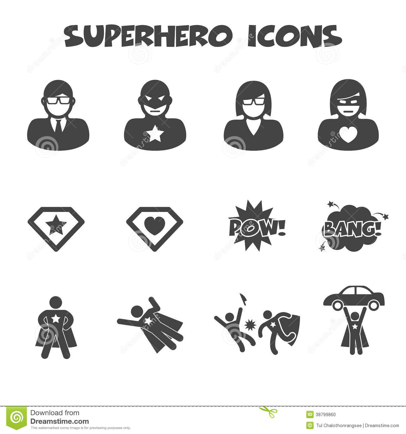 Superhero Icons Stock Vector Illustration Of Element
