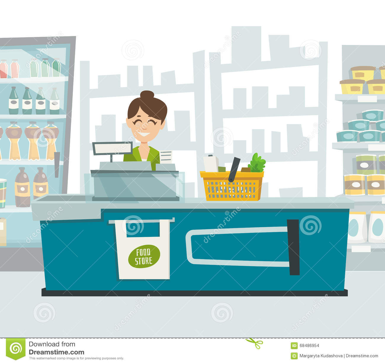 Supermarket Cashier Within Shop Interior Vector Cartoon Illustration Stock Vector