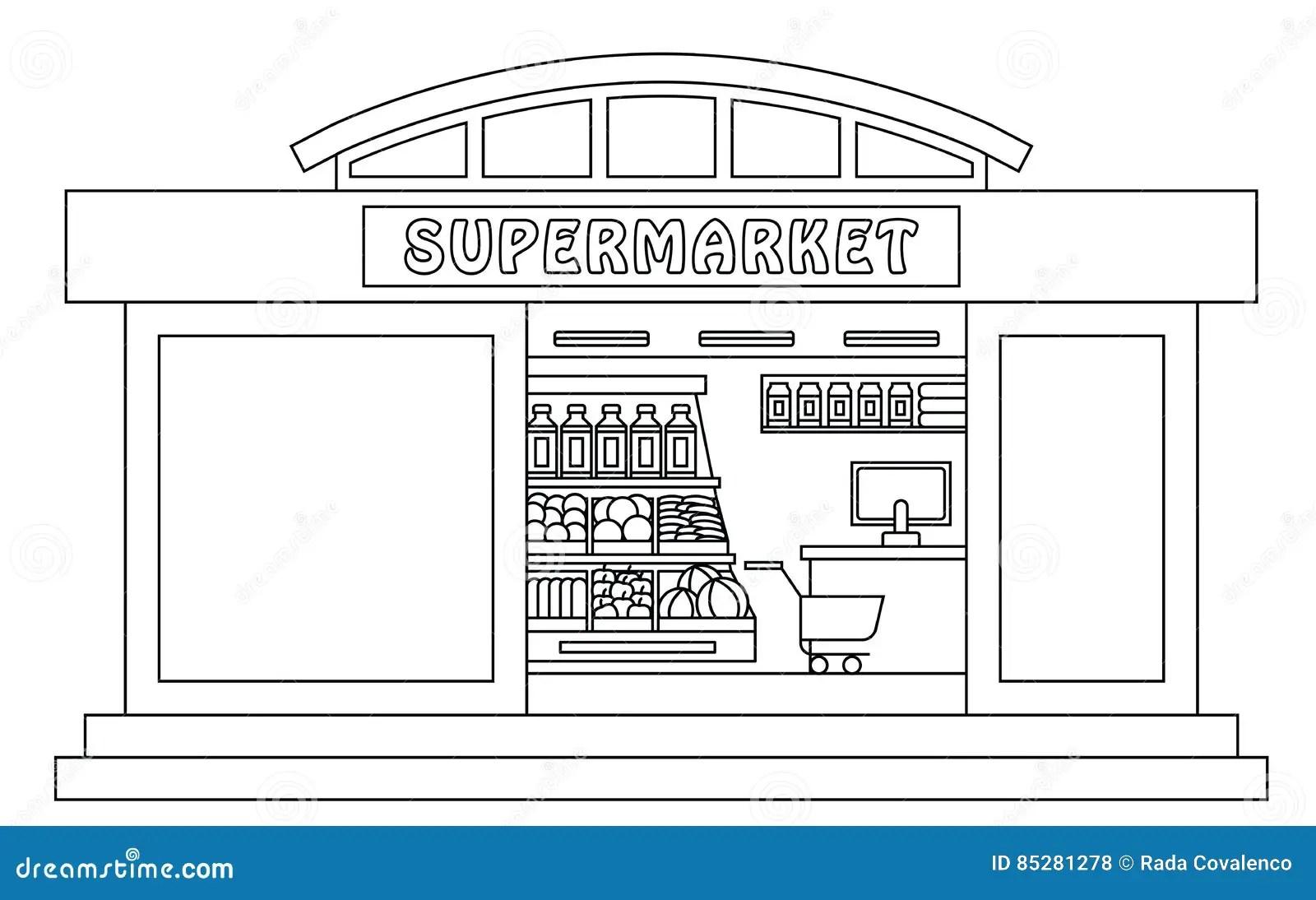 Supermarket Outline Illustration Stock Illustration