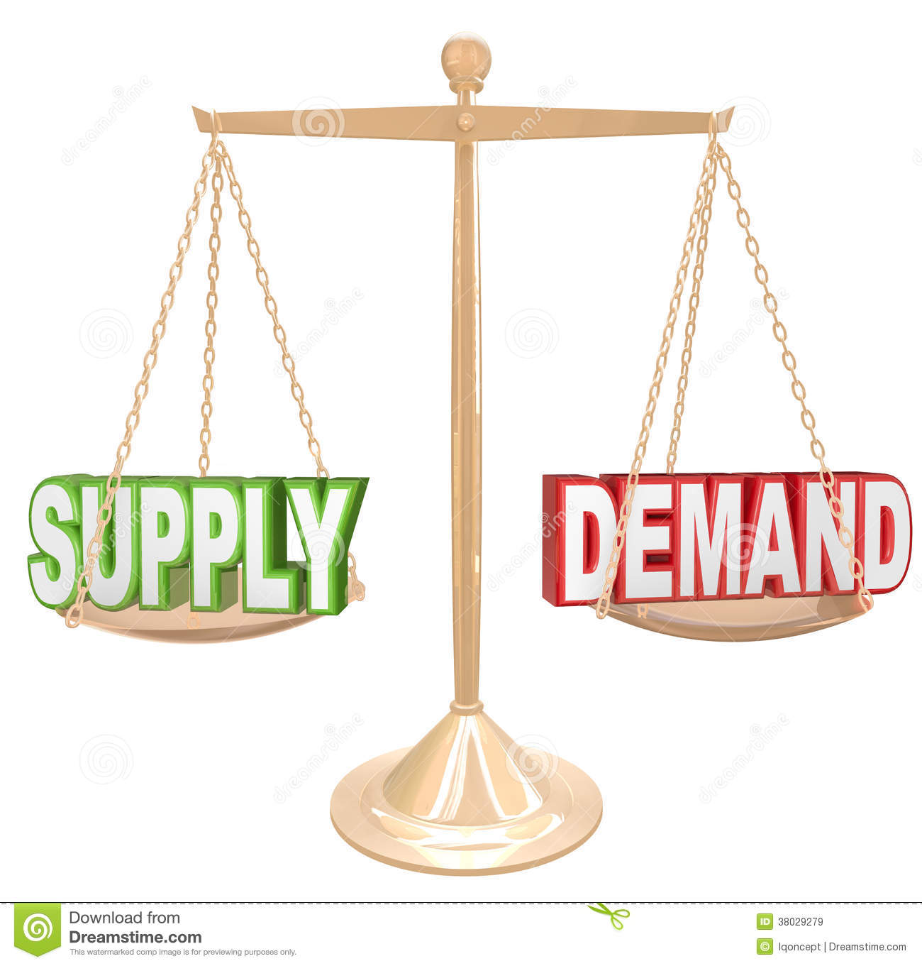 hight resolution of supply and demand balance scale economics principles law illustration 38029279 megapixl