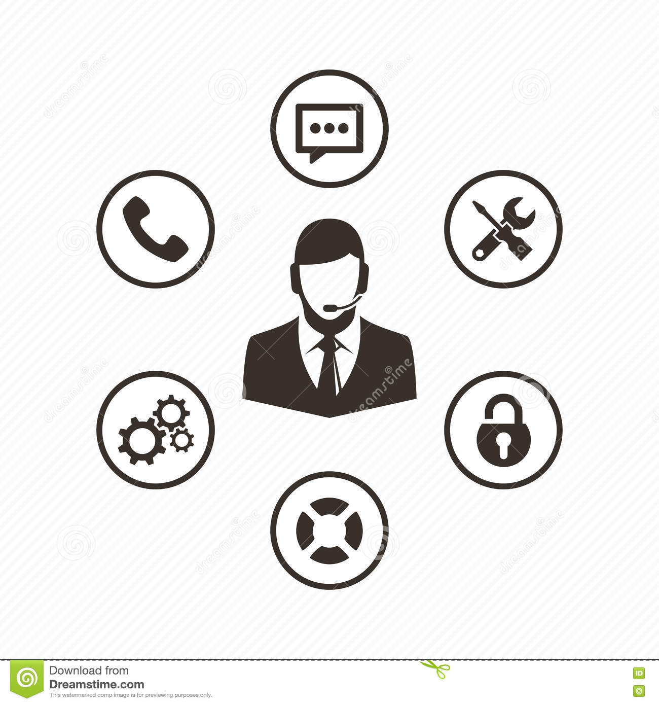 Support Icon Set Stock Vector Image Of Computing