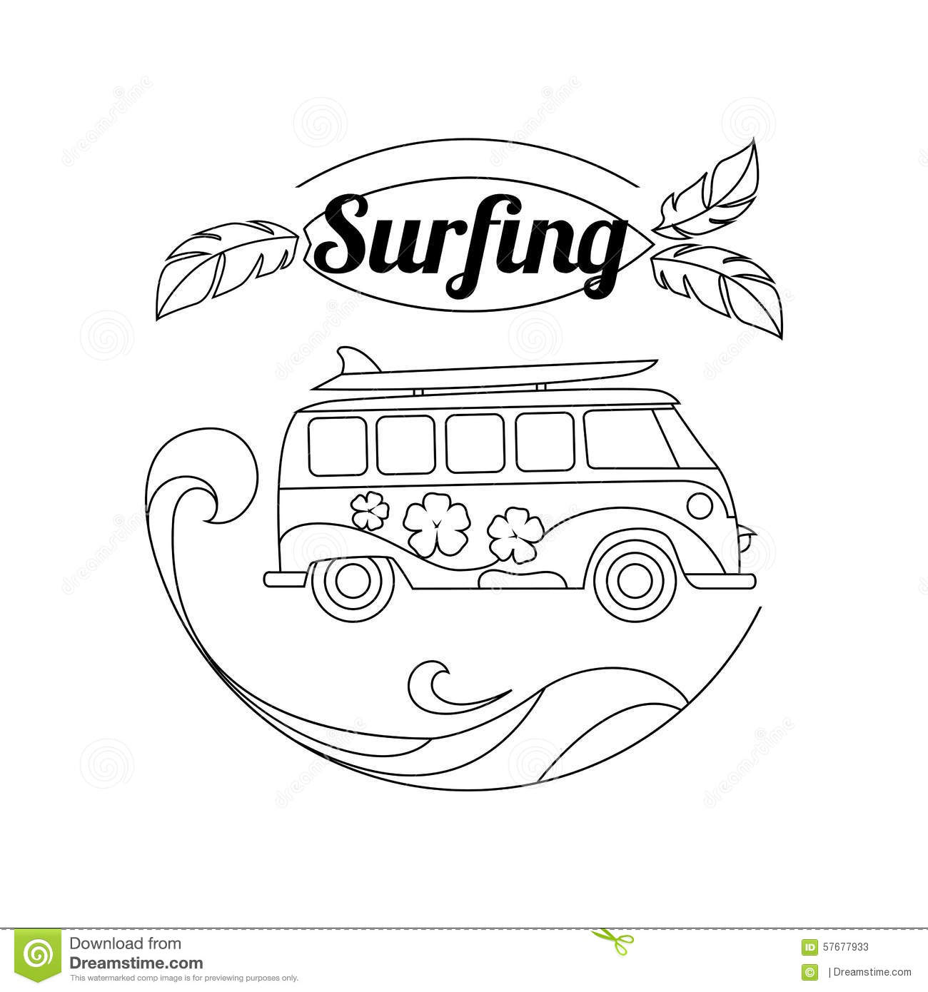 Surf Trip Outline Background. Minimalistic Linear Stock