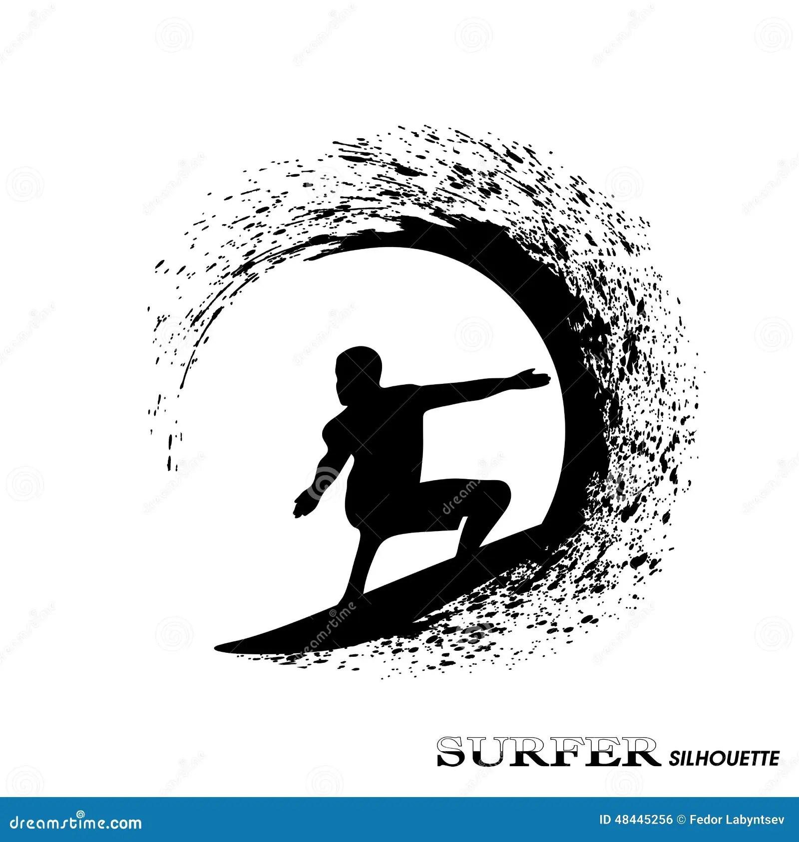 Surfer Silhouette Stock Vector Illustration Of Strips