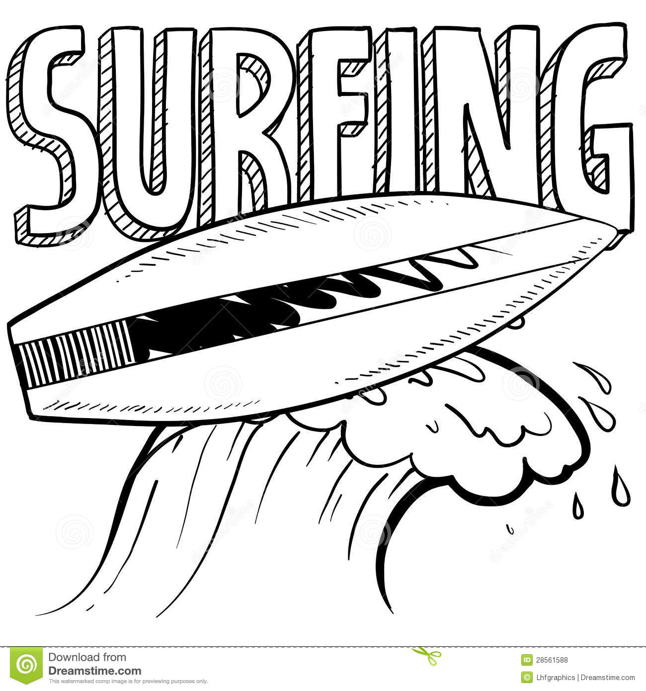 Surfing Sketch Royalty Free Stock Photos