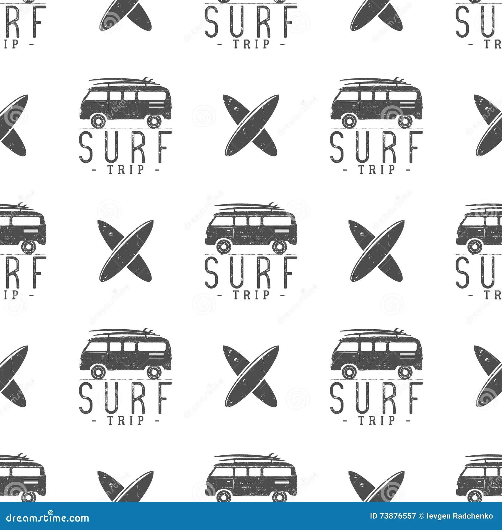 Surfing Trip Pattern Design. Summer Seamless With Surfer