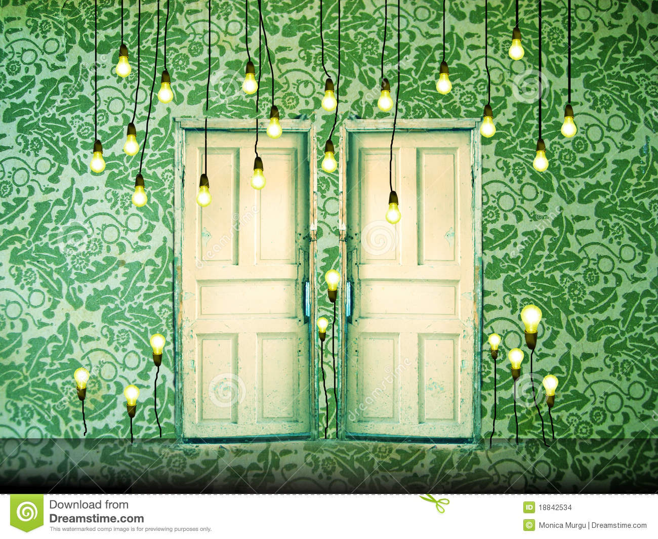 Fall Barn Wallpaper Surreal Background With Doors And Liht Bulbs Stock Photo