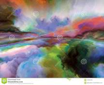 Surreal Painted Cloudscape Stock Of Colors