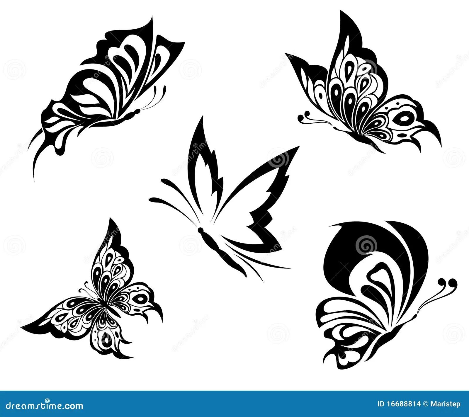 Svarta Fjarilar Tatuerar White Vektor Illustrationer