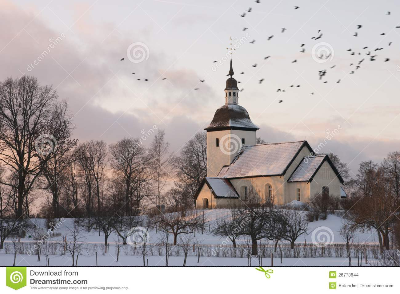 Christmas Snow Falling Wallpaper Swedish Church Winter Stock Images Image 26778644