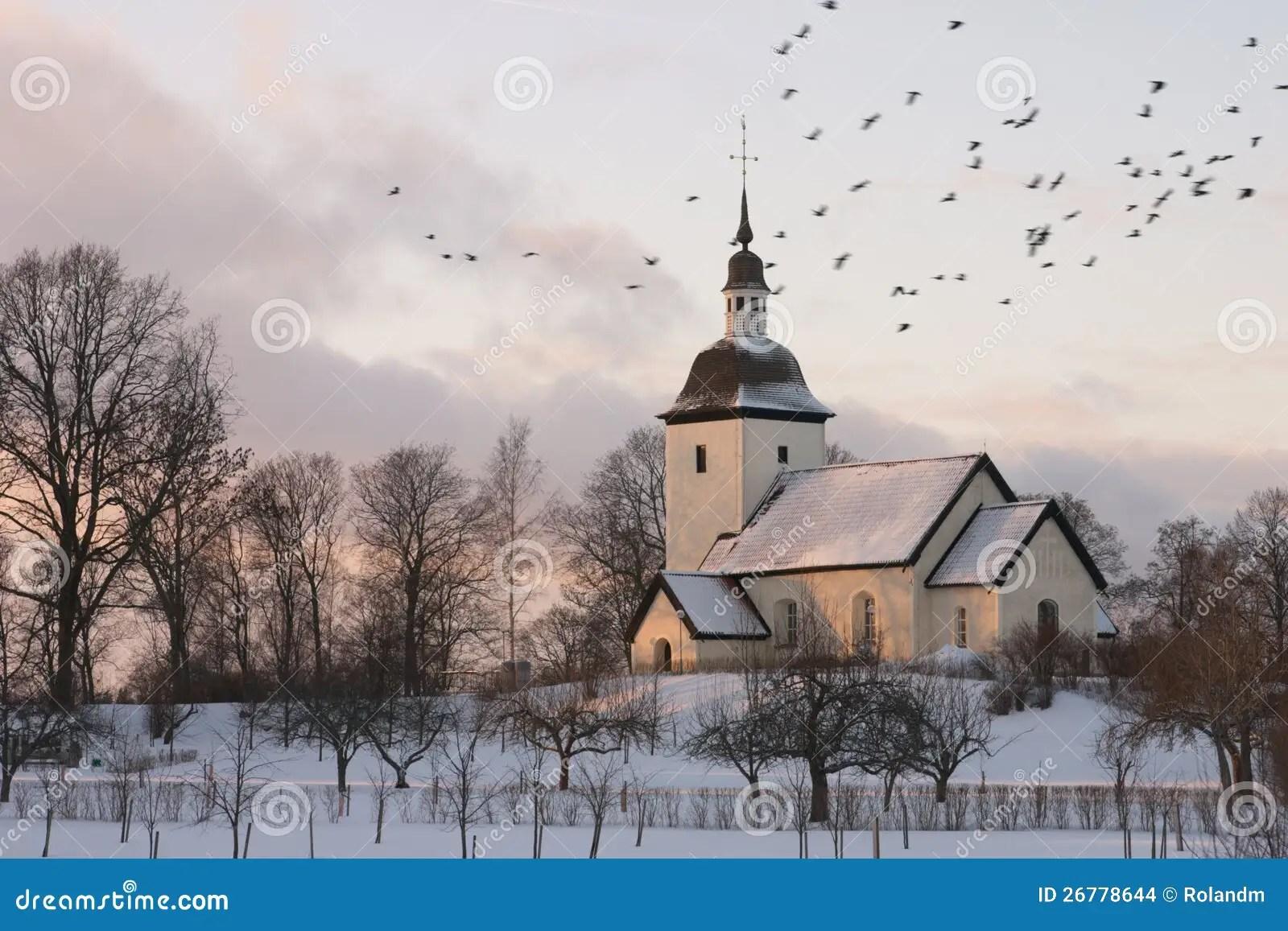 Free Christmas Falling Snow Wallpaper Swedish Church Winter Stock Photo Image Of Beautiful