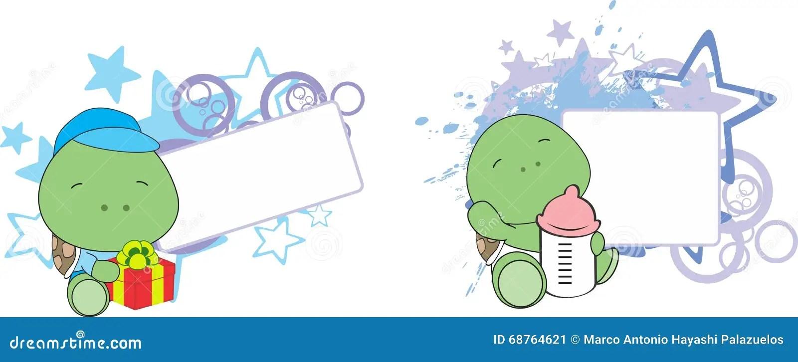 hight resolution of sweet baby turtle cartoon set